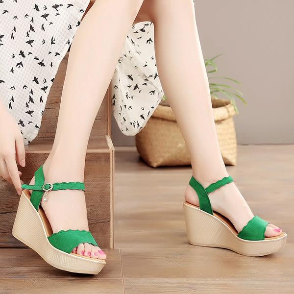 坡跟涼鞋 女舒適松糕厚底大碼鞋【多多鞋包店】z2022