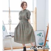 【Tiara Tiara】百貨同步ss 氣質蓬袖格紋縮腰洋裝(綠)