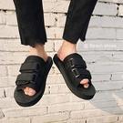 FINDSENSE品牌 男 時尚 潮 休閒 男女情侶款 黑色 露趾 沙滩拖鞋