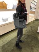 專櫃73折■Celine柔軟珠地小牛皮小型big-bag手袋,配長肩帶 灰色