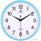 掛鐘客廳家用靜音電子石英鐘圓形創意簡約鐘錶     俏女孩
