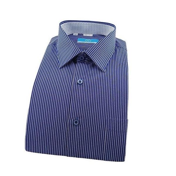 【南紡購物中心】【襯衫工房】長袖襯衫-深藍色條紋