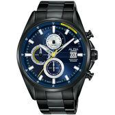 ALBA雅柏 年輕世代計時手錶-藍x鍍黑/43mm VD57-X136SD(AM3601X1)