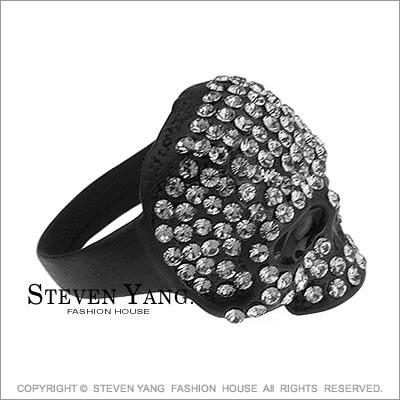 戒指 正白K飾 骷髏頭嘻哈個性 黑色款 小豬羅志祥