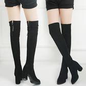 【春季上新】過膝長靴女2019秋季新款百搭韓版粗跟馬丁靴高跟女靴高筒女靴子潮