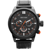 RHYTHM 日本麗聲 三眼計時手錶-48mm SI1602L03