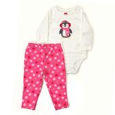 Carter s 長袖套裝 肩扣包屁衣+長褲二件組粉企鵝 女寶寶【CA121H720】