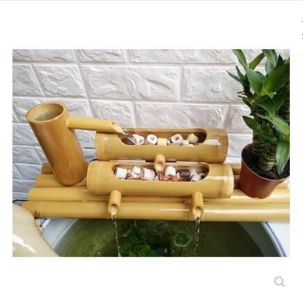 竹子流水器別墅庭院造景招財擺件竹流水石槽魚缸水池加濕過濾器