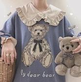 三色熊 小熊古著感日系可愛風秋冬復古無帽寬松大學T少女