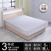IHouse 山田 日式插座燈光房間三件組(獨立筒床墊+床頭+六分床底)-雙人5尺