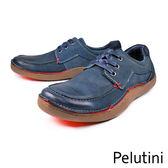 【Pelutini】德州風綁帶膠底休閒鞋  藍色(8363-DBU)