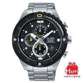 日本ALBA雅柏錶  特殊大錶圈活力運動計時腕錶   VD57-X071D/AM3323X1  -黑框