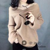 針織衫/秋季新款韓版燈籠袖外穿毛衣女寬鬆加厚露肩深V領打底「歐洲站」