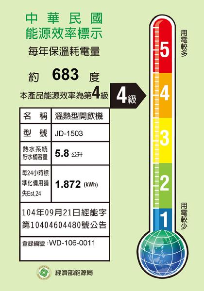★晶工★ 全開水溫熱開飲機 JD-1503