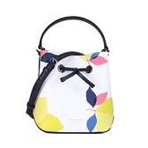 【KATE SPADE】eva 印花皮革手提斜背兩用小型水桶包(白藍多色)