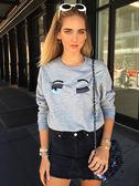 ■ 專櫃價58折■現貨在台 ■ Chiara Ferragni 全新真品 眉環細節內裡刷毛棉質長袖T-SHIRT上衣 XS/S/M/L