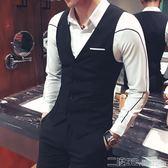 西服背心 男裝休閒薄款西裝小背心男英倫修身韓版定制工作背心潮流外套 二度3C