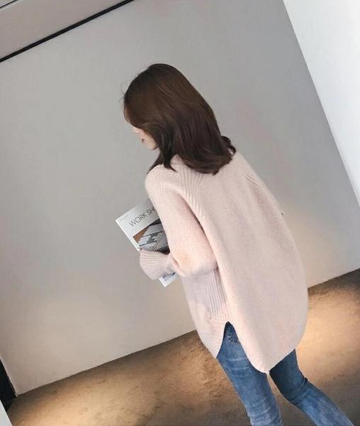 【現貨】梨卡-秋季慵懶風氣質百搭V領薄款針織上衣-寬鬆內搭毛衣打底衫針織毛衣BR1010