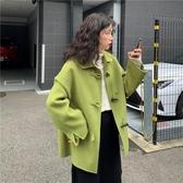 秋冬新款韓版牛油果綠寬鬆翻領網紅學生長袖毛呢外套女裝 遇見初晴