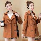 VK精品服飾 韓國風風衣短版寬鬆顯瘦氣勢雙排扣單品外套