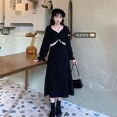 大碼洋裝 大碼法式復古設計感裙子胖mm氣質收腰顯瘦氣質赫本風連身裙女秋冬  芊墨左岸 上新