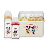 Pigeon貝親 - 母乳實感寬口玻璃奶瓶 迪士尼消毒收納禮盒組