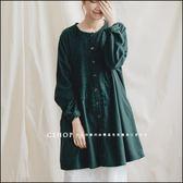 洋裝  同色系鉤花蕾絲棉麻長版衫  二色-小C館日系