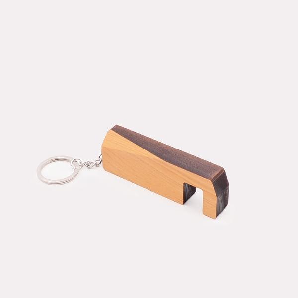 芬多森林|台灣檜木 手機架 鑰匙圈 鑽石切割,隨身手機支架,可客製雷射雕刻刻字,追劇神器