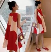 無袖洋裝 夏季新款拼接設計感圓領可愛無袖很仙的洋裝紅色韓版 中秋節