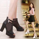韓版時尚防水臺高跟鞋網紗透氣羅馬粗跟鞋女鞋簡約