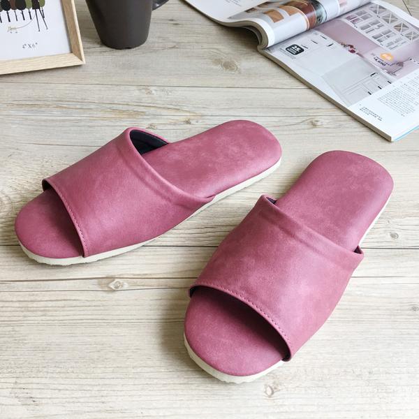 台灣製造-簡約輕巧-皮質室內拖鞋-韻色-桃粉
