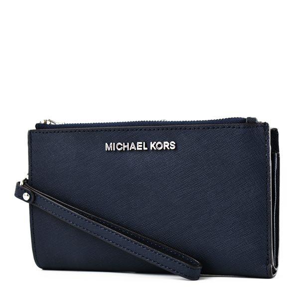 美國正品 MICHAEL KORS 專櫃款 防刮皮革對折釦式手掛手拿/手機包-海軍藍【現貨】