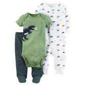 Carter's平行輸入童裝 男寶寶 長袖拉鍊兔裝&短袖包屁衣&包腳褲子 綠恐龍【CA126G867】