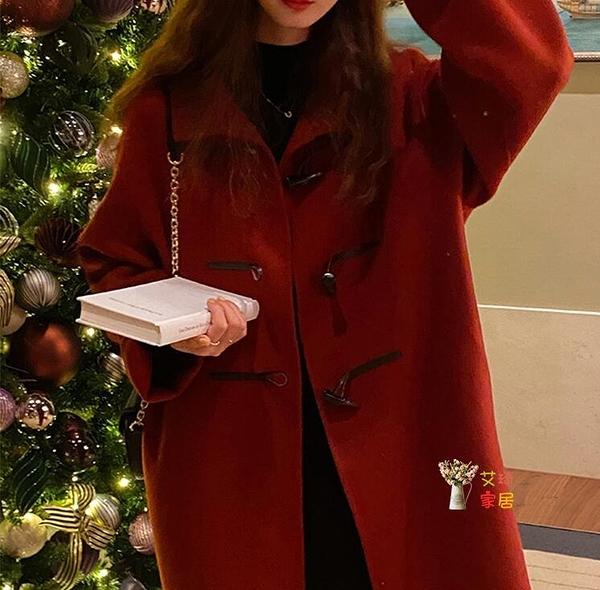 牛角釦大衣 雙面羊絨牛角釦大衣小個子新年圣誕紅色外套女秋冬T