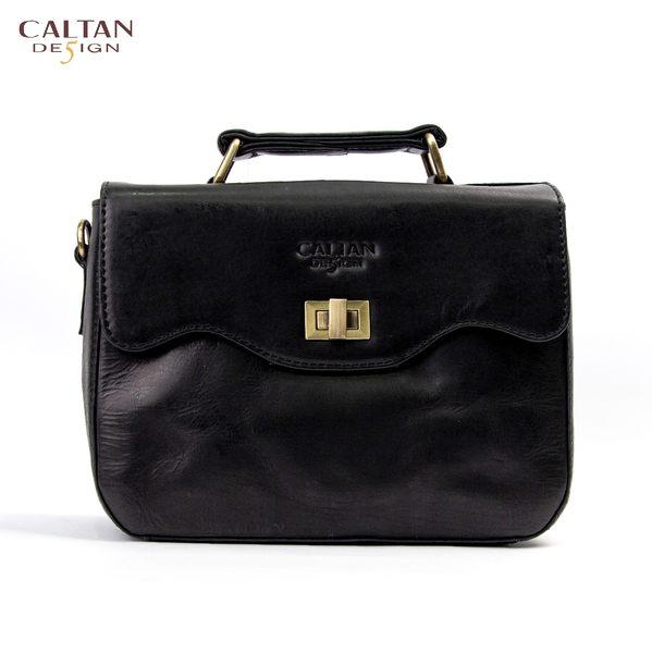 牛皮/斜背包/小包【CALTAN】甜美風輕巧波浪開口兩用斜背/手提包-5223ht-bk