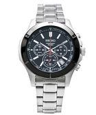 SEIKO 三眼計時大錶徑男性手錶(SSB111P1)-黑面x銀色/43mm