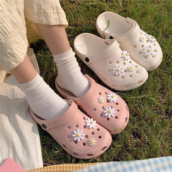 細細條 仙女風時尚網紅度假沙灘鞋女夏天ins潮學生厚底可愛洞洞鞋 蘇菲小店