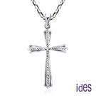 ides愛蒂思 輕珠寶義大利進口14K白金十字架項鍊鎖骨鍊(16吋-KP518)
