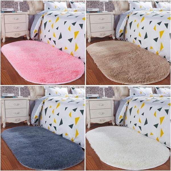 可愛臥室床邊床前毛絨地毯房間滿鋪白色橢圓形客廳榻榻米地墊