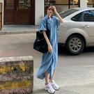 牛仔洋裝 2020新款寬鬆休閒裙子薄款牛仔連身裙女夏季開叉長裙藍色襯衫裙 曼慕