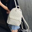 皮革後背包 後背包女2021新款韓版簡約皮質時尚百搭軟皮大容量背包大學生書包 曼慕