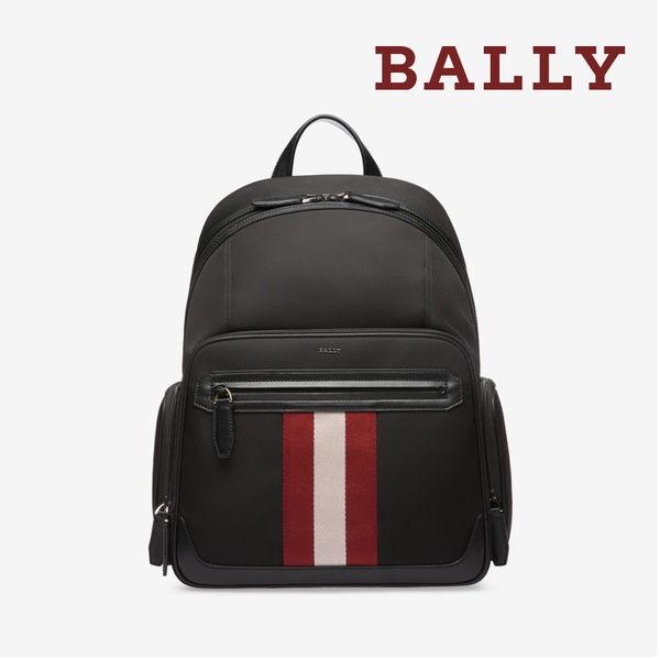 【台中米蘭站】全新品 BALLY CHAPMAY 防潑水尼龍前拉鍊後背包 (6220455-黑)