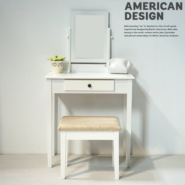 化妝桌+化妝椅 梳妝台 桌子 椅子 桌上鏡化妝桌 旋轉鏡 化妝桌椅組 化妝桌椅 【A0339】
