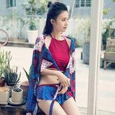 韓國小香風性感紅色分體小胸聚攏比基尼長裙泡溫泉游泳衣女三件套 東京衣櫃