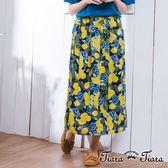 【Tiara Tiara】激安 花叢葉影鬆緊腰長裙(白底/藍底)