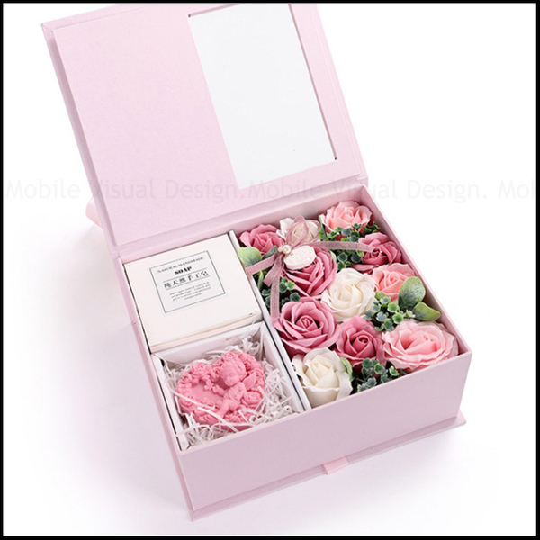 禮物 秘密花園香皂花+手工皂方型禮盒(初戀粉) 情人節禮物 母親節禮物 教師節禮物 生日禮物