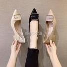 女鞋2021新款夏季金屬方扣后絆帶涼鞋尖頭細跟高跟鞋職業ol單鞋女 快速出貨