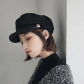 秋冬軍帽子女英倫韓版潮人春夏海軍貝雷帽百搭薄款黑色畫家八角帽