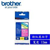 Brother TZe-MQP35 護貝標籤帶 12mm 粉紅底白字