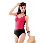 ★奧可那★ 桃紅皺摺單件式泳衣
